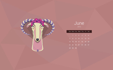 Calendar for 2015, the month of June, the year of the goat. All