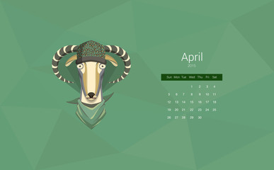 Calendar for 2015, the month of April, the year of the goat. All