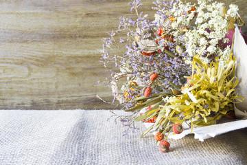 Dried wildflowers bouquet