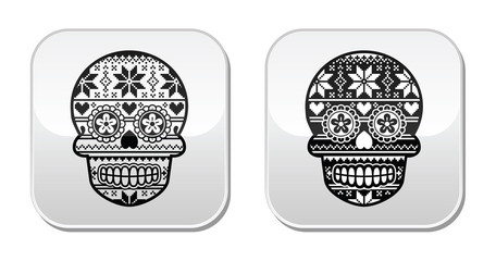 Mexican black sugar skull buttons with winter Nordic pattern