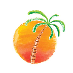 Watercolor palm tree against the sun. Vector logo.