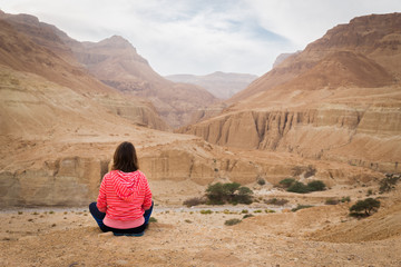 Young woman sitting infront desert canyon on mountain edge