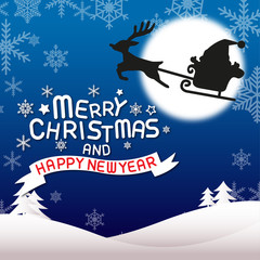 Merry christmas and happy new year, santa claus and rudolph
