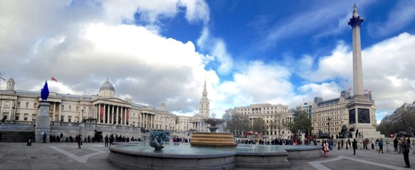 A wide view of Trafalgar Square in London
