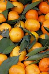 Mandarinen, Klementinen mit Blätter, Hintergund