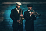 Fototapety Two vintage african american jazz musicians with trumpet and sax