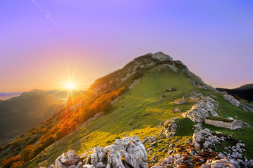 Sunrise in Urkiola mountain range