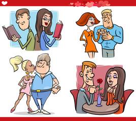 valentine couples in love cartoon set