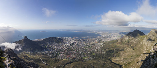 beautiful panorama of Cape Town at sunset