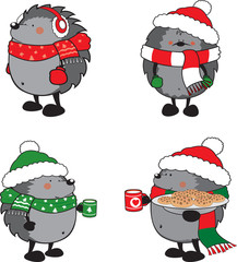Set of 4 cute hedgehogs dressed for Christmas isolated