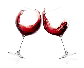 Cheers. A Toast with Red Wine. Splash