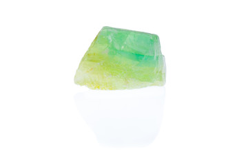 Rough emerald green calcite isolated