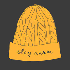 Cozy winter hat. Hand drawn illustration of knitted hat