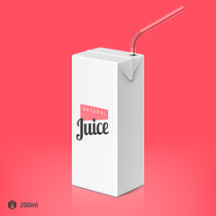 Juice or milk package with drinking straw template, 200ml