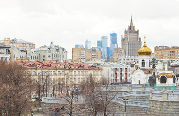 Moscow skyline with cathedral and skyscraper