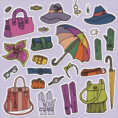 Fashion Female Accessories Set.Hand drowing Sketch.Sticker
