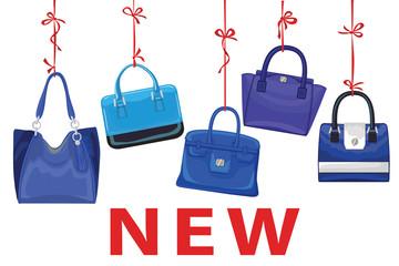 Blue fashion women's handbag hang on ribbon.New