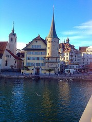 Reuss river in town Lucerne