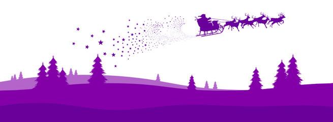 Weihnachskarte, Panorama, Weihnachtsmann, Rentiere, Santa Claus
