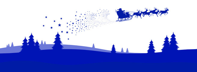 Weihnachskarte, Panorama, Weihnachtsmann, Christmas, Card, Xmas