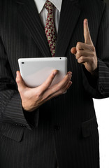 Businessman and tablet