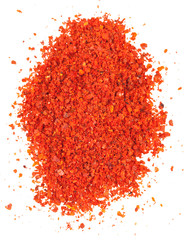 top view of ground red chili pepper - paprika