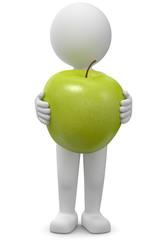 3d Männchen mit Apfel