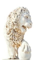 marble medici lion with ball isolated on white