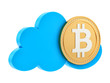 render of a bitcoin in the cloud, isolated on white