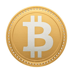 render of a bitcoin, isolate on white