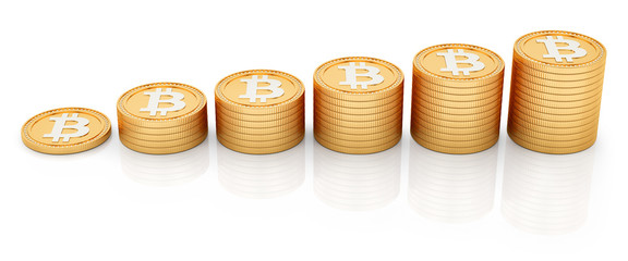 render of bitcoins, isolated on white