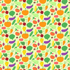 Vegetables seamless pattern, vector background with great