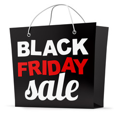 render of a Black Friday shopping bag, isolated on white