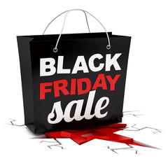 render of a Black Friday shopping bag crushing ground