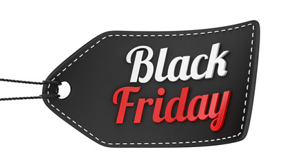render of a Black Friday price tag, isolated on white