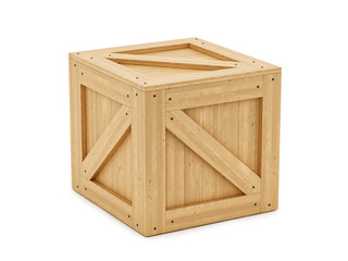 render of a wooden box, isolated on white