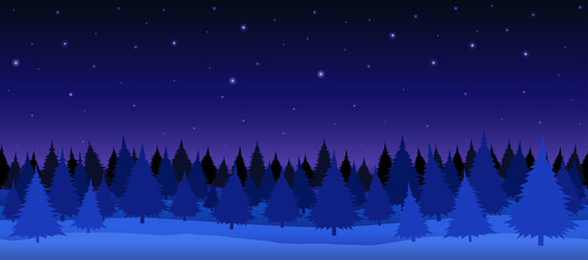 Seamless vector illustration. Night winter forest