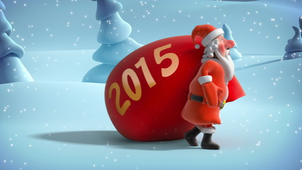 Santa Claus with big Christmas bag in winter forest. Animation