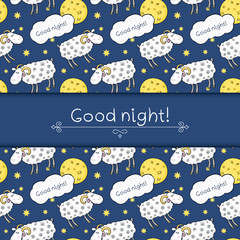 Seamless vector pattern with images cute sheep on background