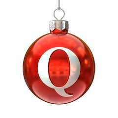 Colorful Christmas ball font letter Q