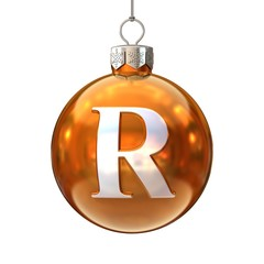 Colorful Christmas ball font letter R