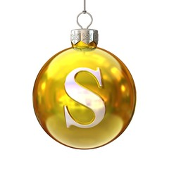 Colorful Christmas ball font letter S