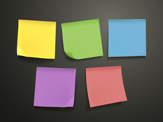 blank colorful sticky notes set