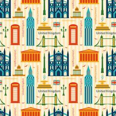 Seamless pattern with landmarks of United Kingdom