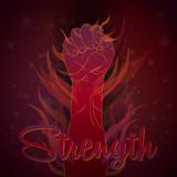 Strength by human hand poster