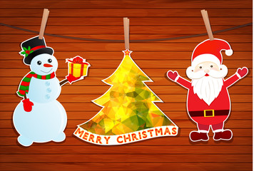 Christmas with Santa Claus and Snowman