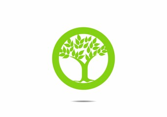 Simple tree icon  green leaves in circle