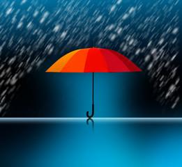 Bunter Schirm bei Nässe