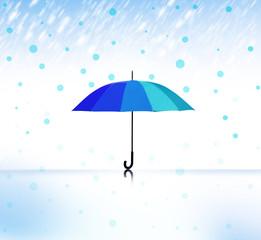 Blauer Schirm bei Nässe
