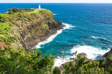 The Kilauea Point and the lighthouse in Kauai, Hawaii